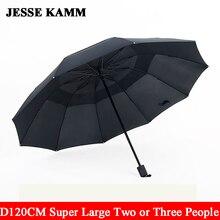 2015 new big strong three folding comapct rain two three people super big 10 ribs sun shade windproof men women  male umbrellas