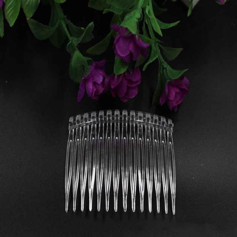 1pc 7x5cm 15 Teeth Fancy DIY Plastic Hair Clip Comb Women Bridal Wedding Veil Holder Transparent Beauty Styling Tool
