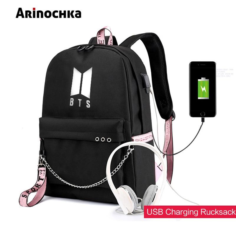 8d8ccefa0a40d Fashion USB charge BTS bulletproof Backpack School Bags for Teenage Girls  double Shoulder Bag Canvas Rucksack regiment Backpack