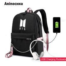 365542682a32d Moda USB charge BTS kuloodporne plecak torby szkolne dla nastoletnich  dziewcząt podwójna torba na ramię plecak płócienny pułk pl.