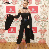 2017 New Summer Women Rompers Bodysuit Sexy Black Long Sleeve Cold Shoulder Side Splitted Celebrity Party