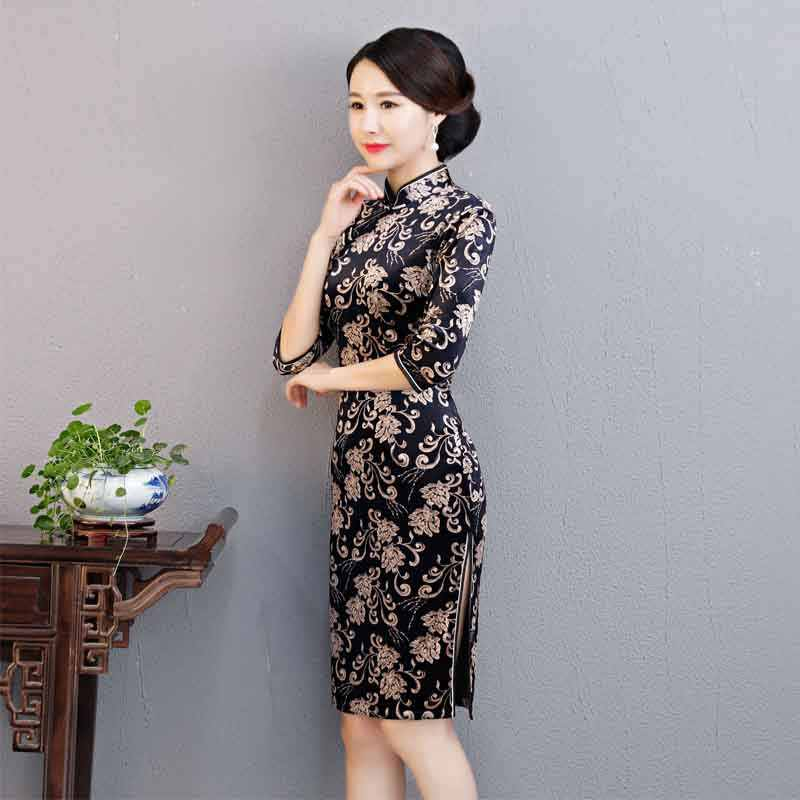 4845a8c71 ... Hot Charming Chinese Women Qipao Dress Velvet Party Half Sleevele  Classic Cheongsam Oriental Traditional Prom Bodycon ...