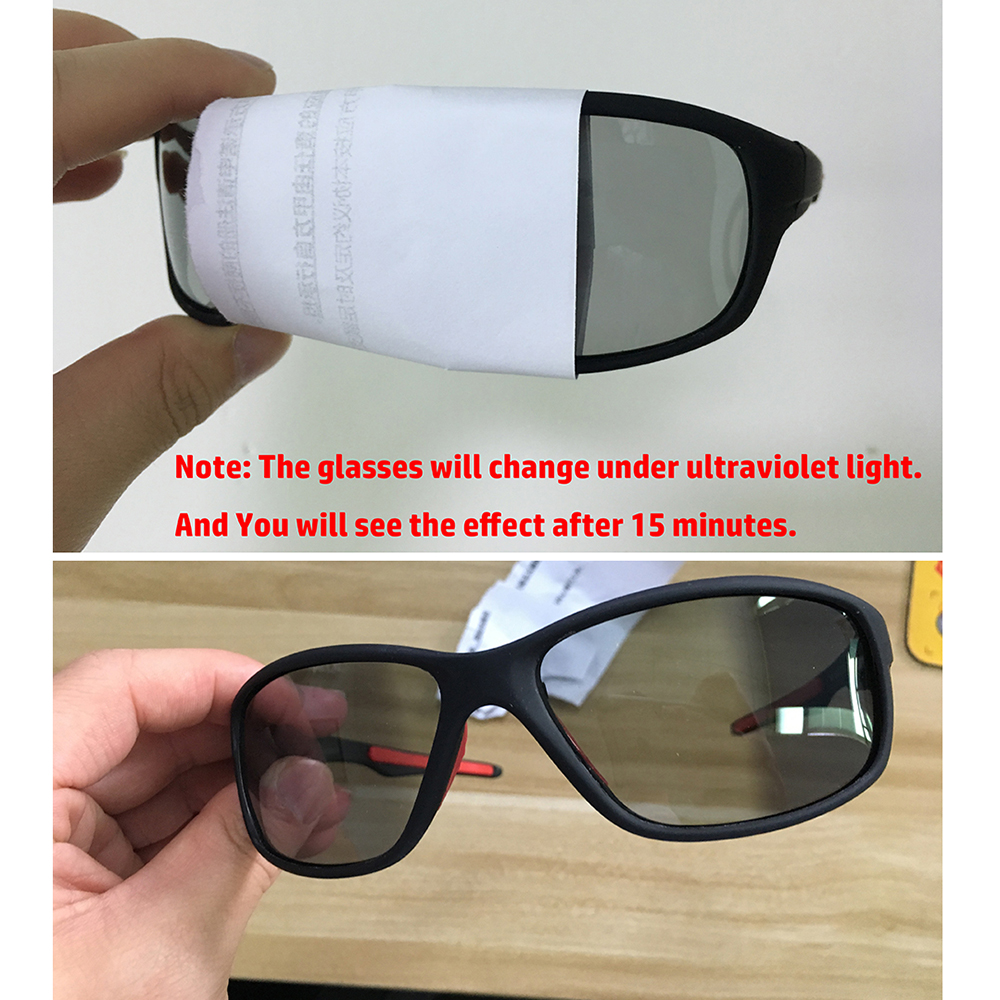 Купить с кэшбэком Cycling Photochromic Sunglasses Men Polarized Chameleon Discoloration Sun Glasses Outdoors Sports Square Driving Accessories