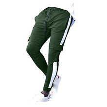 Casual pants mens tight-fitting sweatpants European and American style mouth bundled feet stick pocket casual trousers