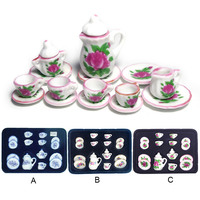 15PCS 1:12 Doll House Mini Ceramic Dishes Cups Plate Teapot Sugar Bowl DIY Dollhouse Kitchen Tableware Accessories Model Toy