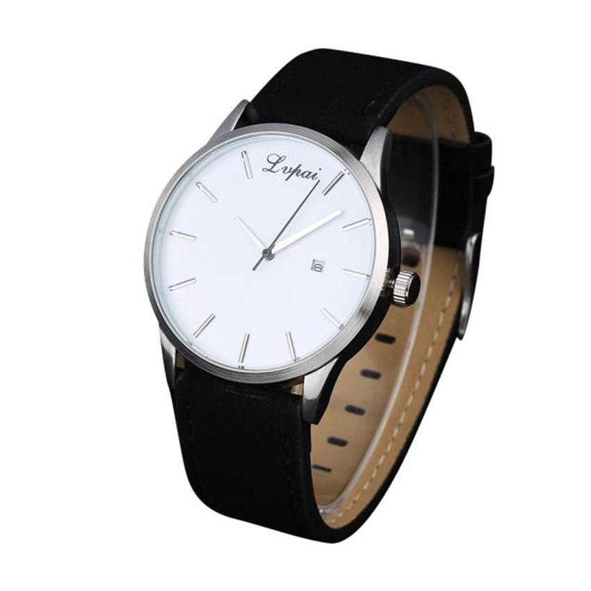 9723571acaa LVPAI P066 Men s Leather Watch 2018 White Black Calendar Scale Simple Dial  Casual Quartz Alloy