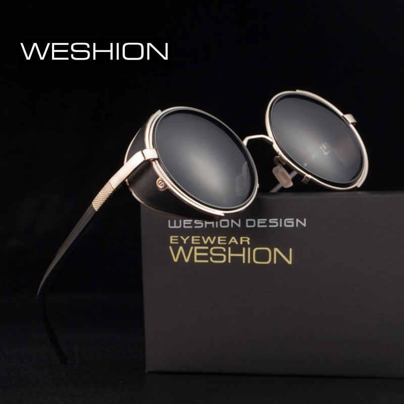 e4535b51510 Steampunk Sunglasses Men Round Steam punk Goggles 100% UV Protection Shades  For Women Color Black