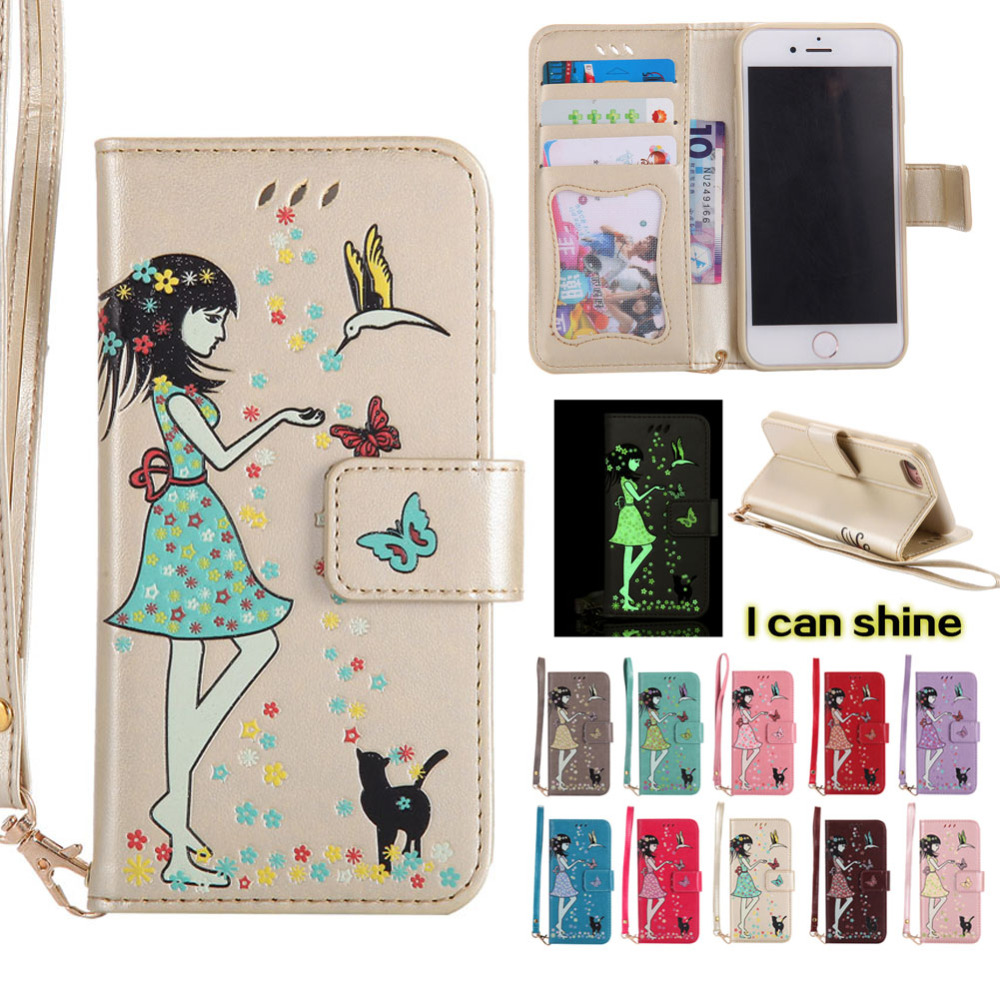 Uminescent girl Flip Case for iPhone 7 / 8 Phone Case, Luxury PU Leather Cover Wallet Case with strap, card holder