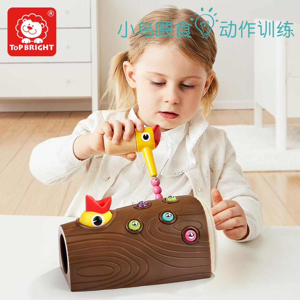 Early childhood educating children boys and girls magnetic fishing catching insects toy birds eating pecking woo