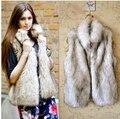 2014 Otoño y el Invierno de Las Mujeres de Piel Falsa Chaleco warm up moda acuden Chaleco manera de las señoras outwear abrigo de pieles
