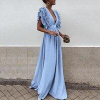 VITIANA женское длинное платье длиной до пола однотонное синее Вечерние Платье женское 2018 лето осень v-образный вырез с коротким рукавом элеган...