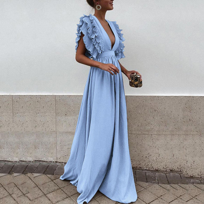 VITIANA Women Maxi Long Floor Length Solid Blue Party Dress Female 2018 Summer Autumn V Neck Short Sleeve Elegant sexy Dress