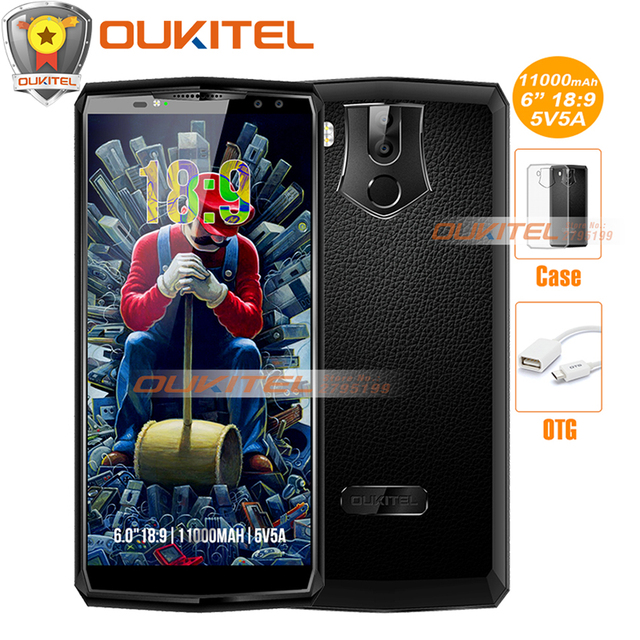 """OUKITEL K10 6.0""""18:9 FHD+Face ID 4G smartphone Android 7.1 11000mAh superbattery 5V5A Helio P23 6GB 64GB 4 Cams NFC mobile phone"""