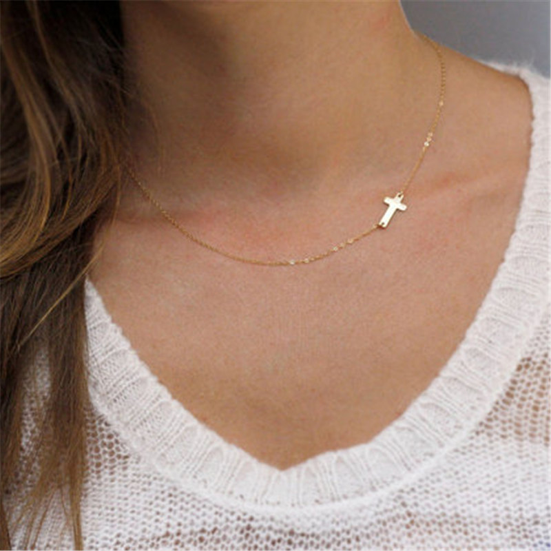 New Fashion cross Pendant Necklace Women gold necklace Holiday Beach Statement Jewelry Wholesale(China)