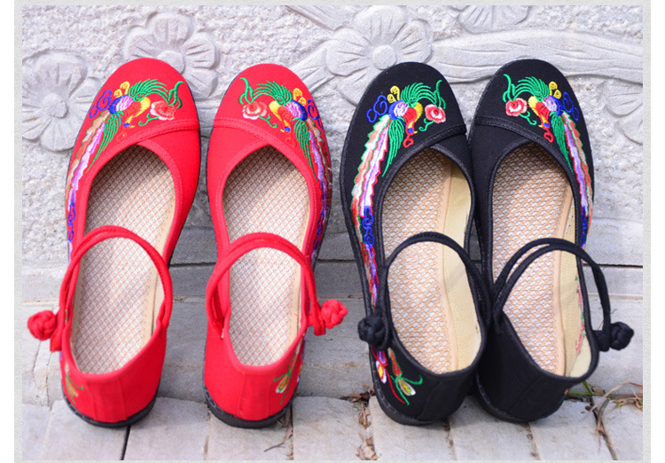 Fashion 2017 Old Peking Cloth Shoes, Chinese Style Totem Flats Mary Janes Embroidery Casual Shoes, Red+Black Women Shoes S189 (31)