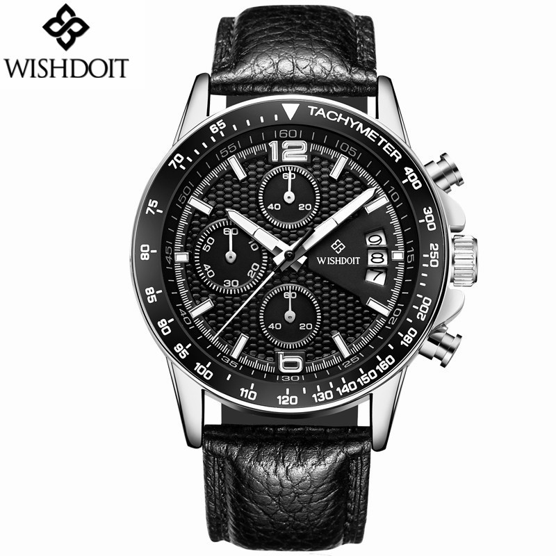 Reloj Hombre WISHDOIT Quartz Watch Men Military Sport Luxury Top Brand Male Clock Men's Fashion Casual Leather Strap Wristwatch reloj hombre wishdoit quartz watch men