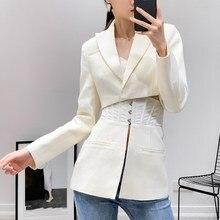 Hot Sale Spring 2019 Fashion Ol Long Sleeve Women Blazer Female Lapel Tunic Patchwork White Suit