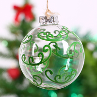 Mouthblown Transparent Glass Ball Xmas Decoration Green Antlers Holiday Decoration Christmas Tree Ornament Bauble Wedding 8cm
