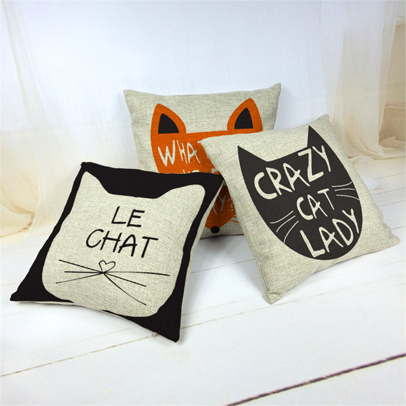 Fashion Lady Cat Cushion Cover For Sofa Decorative Throw Pillow Covers Cotton Linen Pillowcase Sofa Decor Couch Without Filling