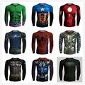 2016 Compressão 3d Imprimir Calças Justas da Aptidão Crossfit Marvel Superhero 3D Tshirt Dos Homens de Manga Longa Superman Tshirt Dos Homens Tops & Tees