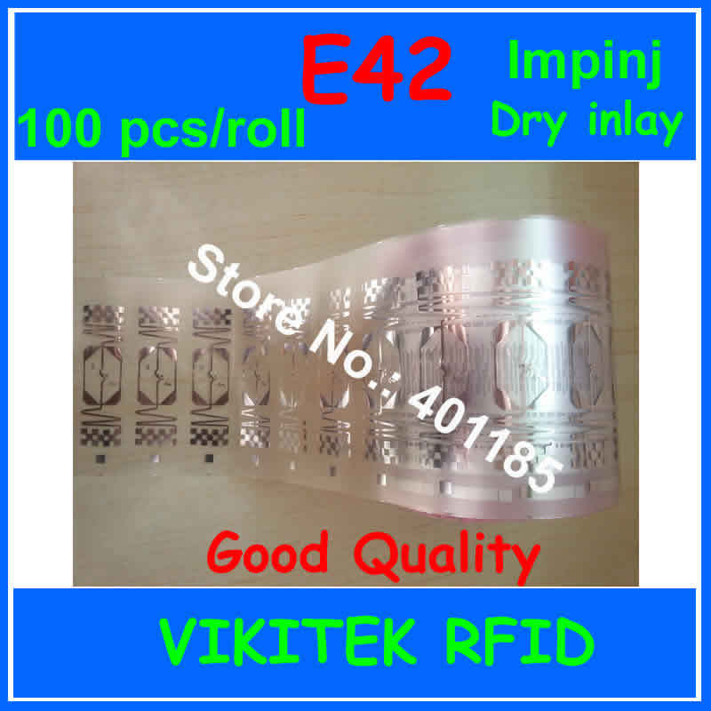 UHF RFID dry inlay Impinj E42 100pcs 860-960MHZ Monza4 915M EPC C1G2 ISO18000-6C can used to RFID tag and label 1000pcs long range rfid plastic seal tag alien h3 used for waste bin management and gas jar management