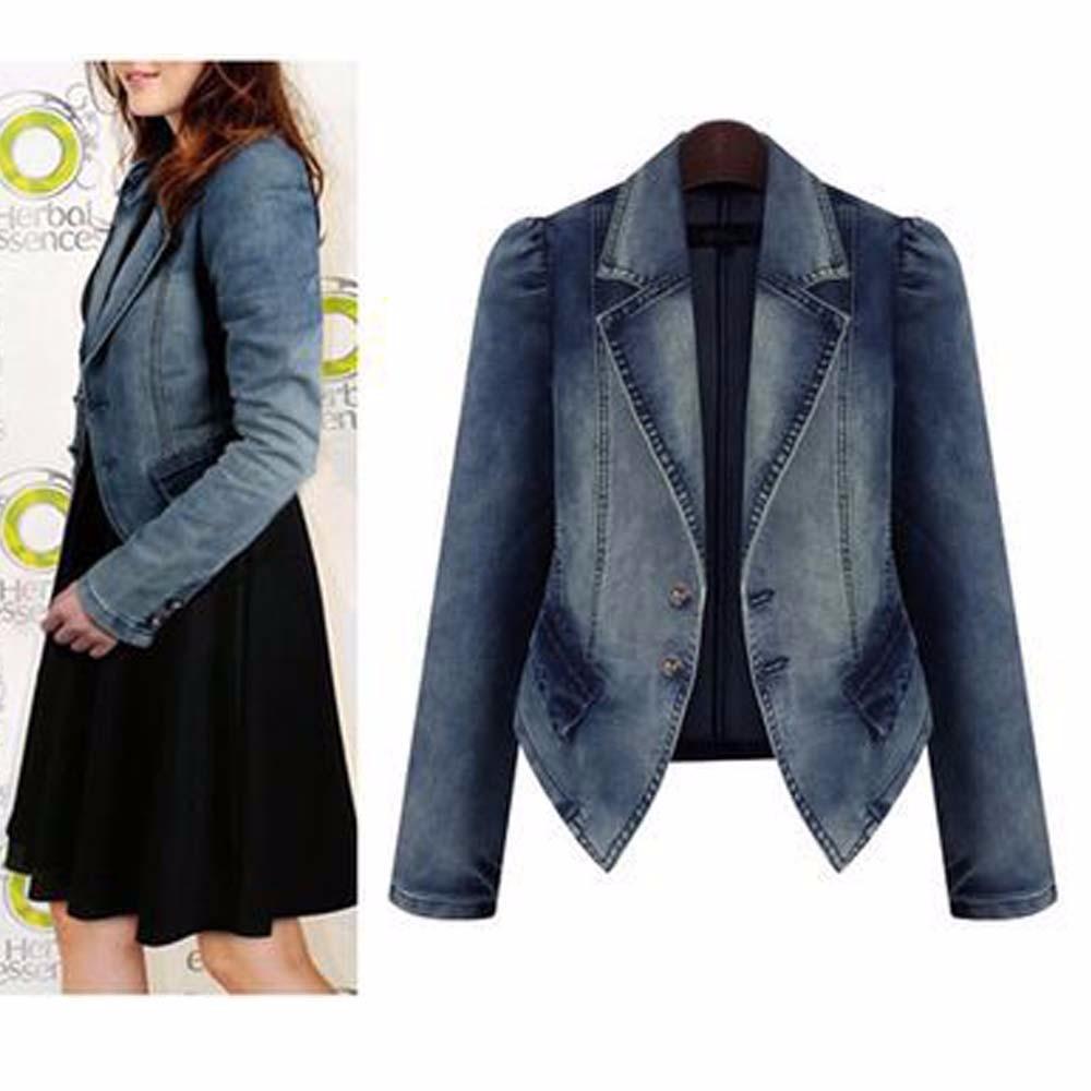 2016 Women Denim Jacket Autumn Winter Vintage  Oversize Loose Female Jeans Coat Solid Slim Chaquetas Mujer Jaqueta Feminina