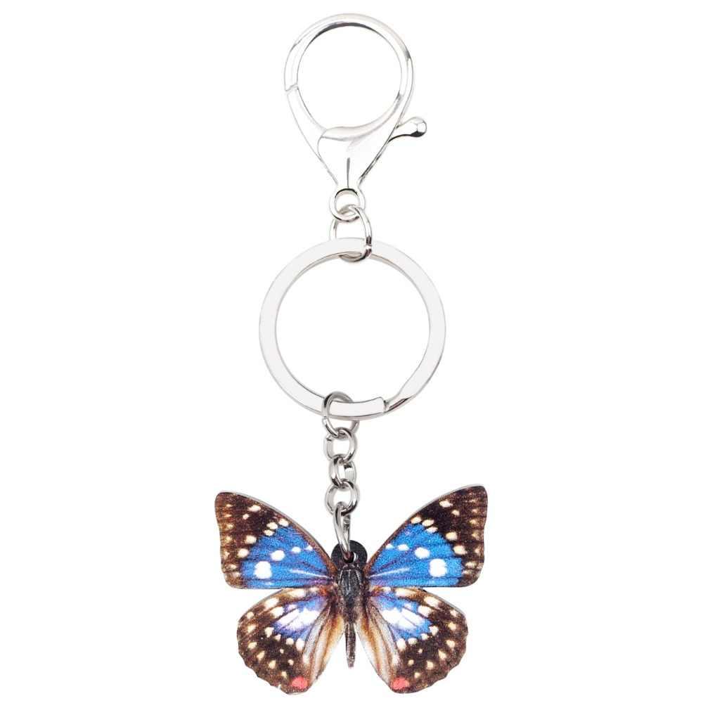 WEVENI acrílico japonés emperador mariposa llavero llaveros anillo joyería de insectos para mujeres niñas bolso de coche monedero encantos accesorio