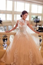 2014 Real Image Vintage Jewel Appliqued Beaded Sleeveless Puffy Ball Gown Wedding Dresses Vestidos