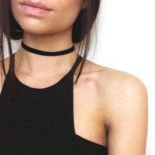 2016 de la vendimia de terciopelo negro retro choker collar mujeres gargantillas collares de chocker collares mujer collier ras de cou