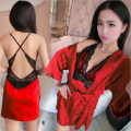 Women Sexy pajamas Sling skirt Bare back Black lace edge Sexy charm Solid color robes Upgraded version+Chest pad