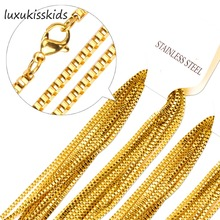 LUXUKISSKIDS Bulk 10PCS 2mm Width Gold/Steel Popcorn Chain Jewelry Rolo Link Necklace Chains Wholesale Price with High quality
