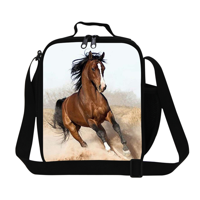 New Design Black Brown Horse Lunch Bags For Work Boys Animal Insulated Bag
