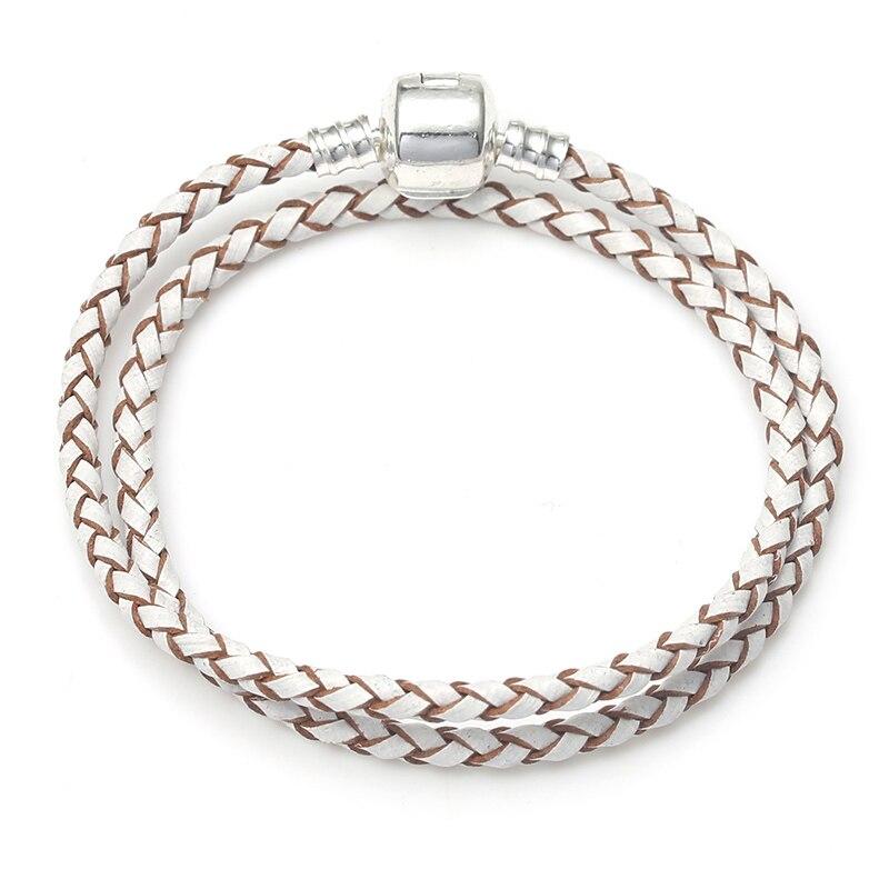 BAOPON, Прямая поставка, высокое качество, 9 цветов, кожаная цепочка, браслеты с подвесками, сделай сам, прекрасный браслет для женщин, девушек, ювелирное изделие, подарок - Окраска металла: White-3