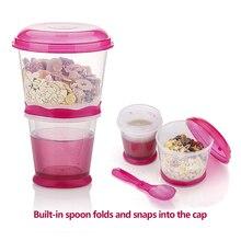 Креативная чашка для завтрака, чашка для овсяной муки, чашка для закусок, материал PP, чашка для закусок с крышкой, складная ложка, контейнер для еды, сохраняет молоко холодным