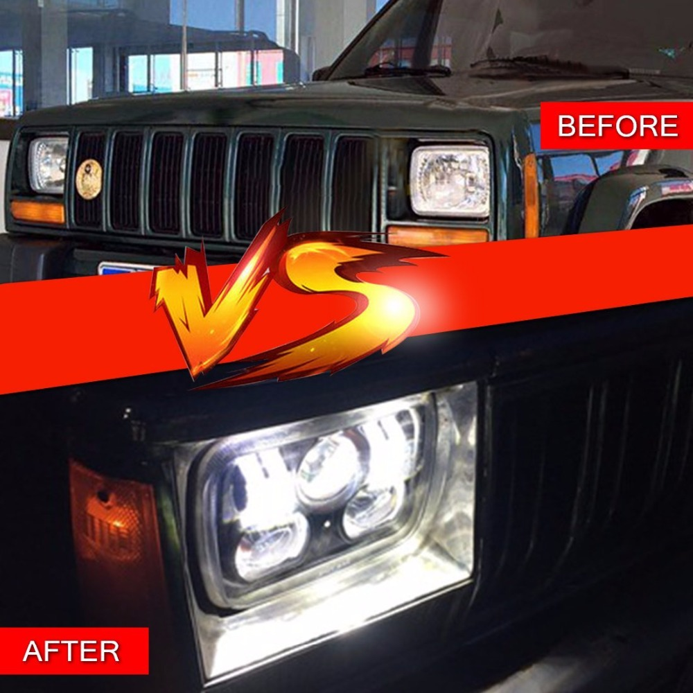 5 X 7 Off Road LED Headlights for Jeep Cherokee XJ universal black 3 76mm polished aluminum fmic intercooler piping kit diy pipe length 450mm for jeep cherokee xj ep lgtj76 450