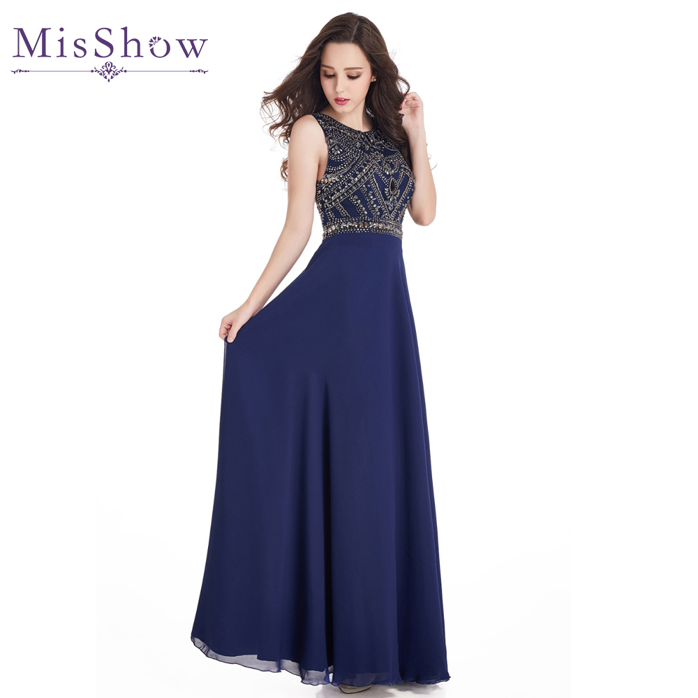 2019 Long   Prom     Dresses   A Line Scoop Neckline Luxury Crystal Beaded Navy Blue pink Chiffon New Arrival Formal Gown Party   Dresses