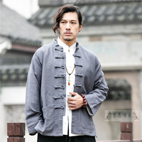 Mandarin Collar Tradtional Chinese Clothing for Men Jacket New Year Clothes Retro Blouse Chinese Shirt Style Tai Chi Uniform