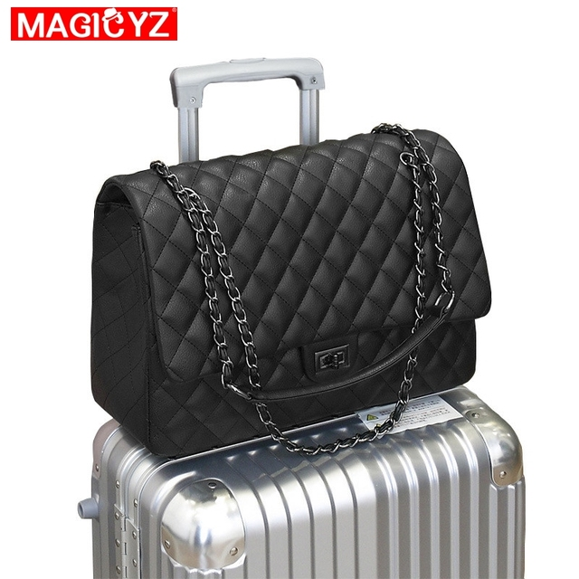 2018 Luxury Brand Women Plaid Bags Oversized Travel Bag Quilted Handbags Designer Leather Messenger Chain