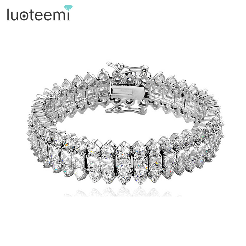4cfb7a3720232 US $15.8 40% OFF|LUOTEEMI Top Luxury Wedding Bracelet 3 Rows AAA+ Top  Quality Zircon Stones Paved Wedding Bracelet Bangles for Women-in Charm ...
