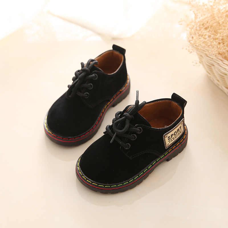 Comfy kids 2019 new arrivals lederen kind schoenen mode zachte bodem baby jongens lederen schoenen maat 21-25 platte met jongens schoenen