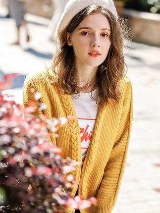 Femmes Jaune Streetwear Femme Coréenne Pull Tops 2018 Cardigan Femelle As Picture Pour D'hiver Cachemire Same The Nouveau Robe Chandail En APqnqtwx
