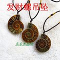 10pcs High quality natural  stone fossil pendant pendulum Fossil seashells slice pendants Green twine chakra pendule suspension