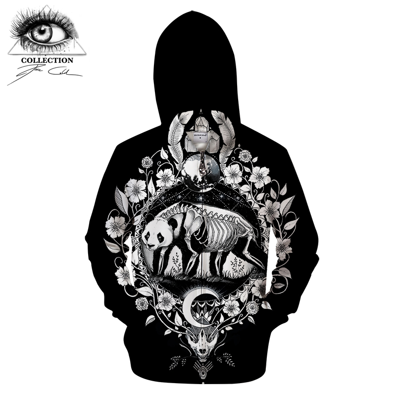 Panda black By Pixie cold Art 3D Zip Hoody Animal Hoodies Men Zipper Sweatshirt Groot Tracksuit Brand Pullover Unisex Drop Ship