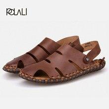4ce0dc574d6d7 POLALI verão Homens Sandálias de couro genuíno sola de borracha de alta  qualidade de Areia de praia masculino sapatos casuais ho.