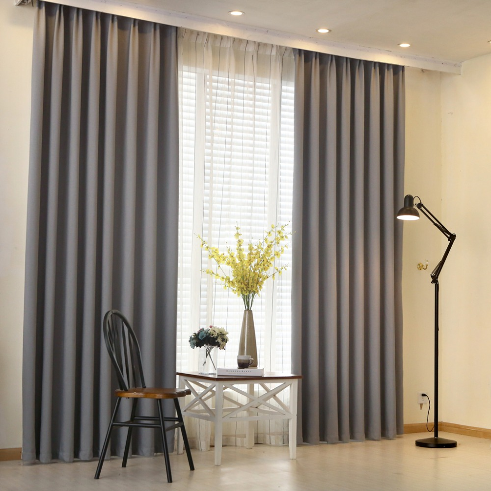 Napearl Modern Curtain Plain Solid Color Blackout Full Shade Living Room Window Curtain Panel