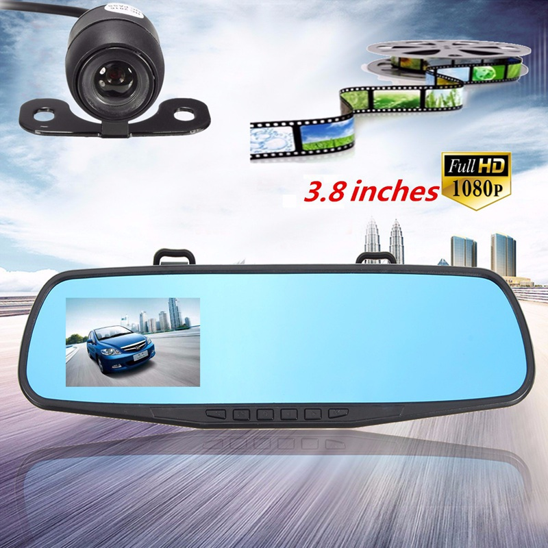 buy online 3 8 inch 1080p hd 140 angle night vision car rear view mirror camera dash cam video. Black Bedroom Furniture Sets. Home Design Ideas