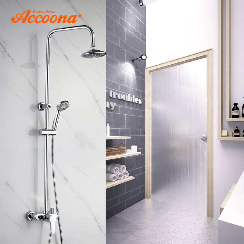 Accoona Chrome Plated Shower Faucet Wall Mounted Rain Hot And Cold Mixer In Bathroom Rain Shower Head Hand Shower Set A8392