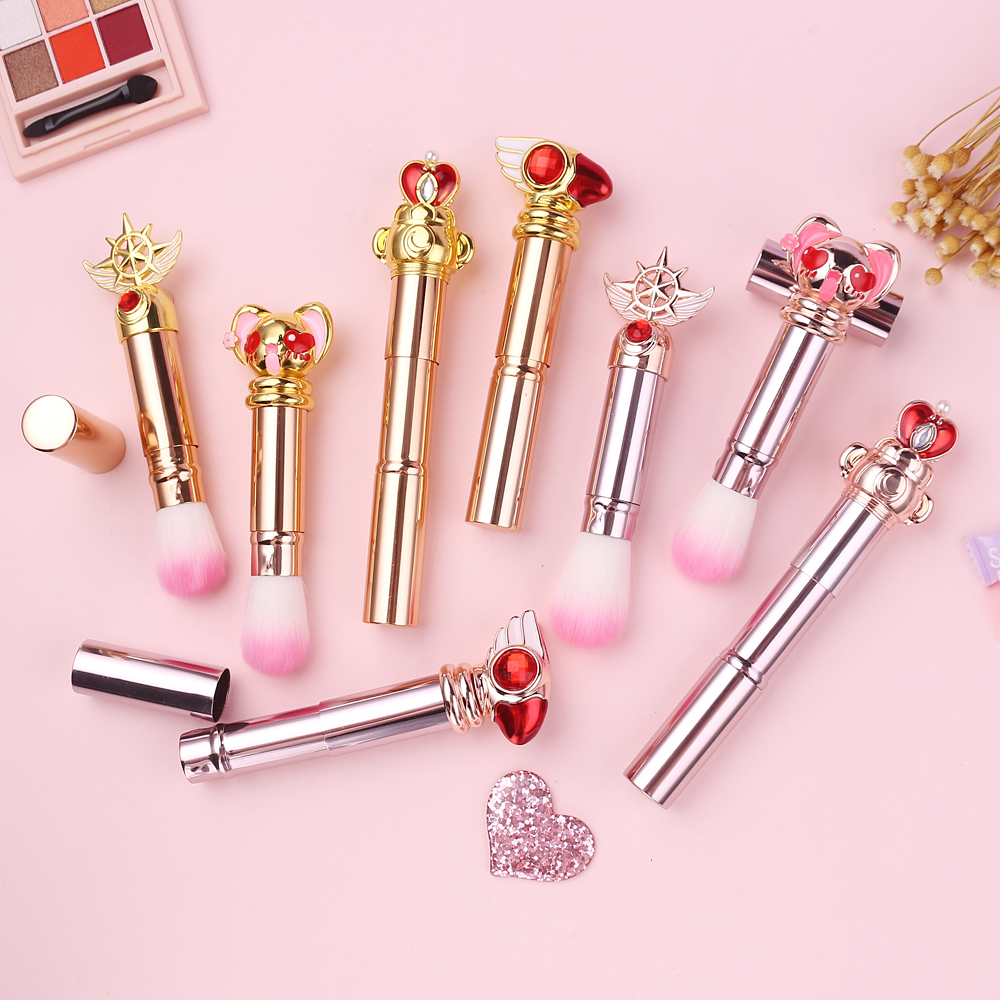 Retractable Makeup Brushes Powder Foundation Blush Face Kabuki Brush Maquiagem Sailor Moon/Cardcaptor Sakura Cosmetic Tools