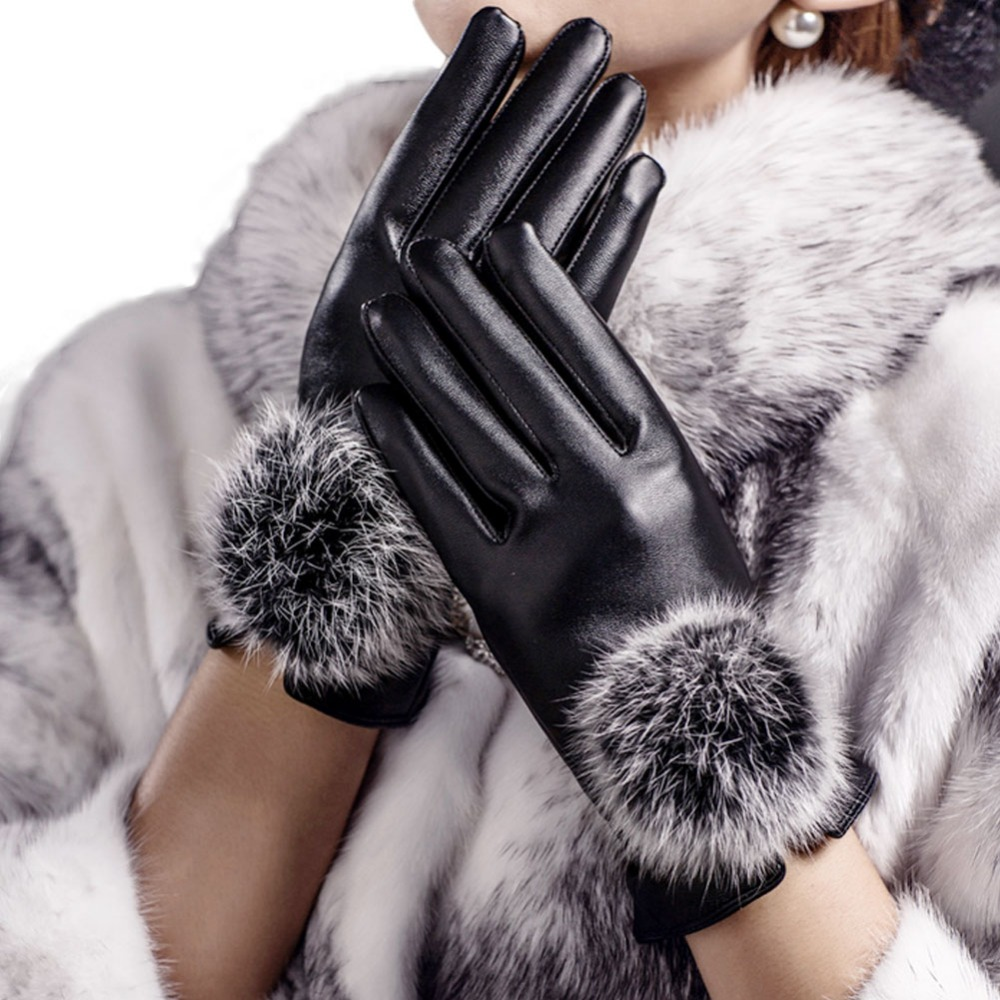 Womens leather gloves with touch screen fingers - 16 Women Girl Faux Leather Soft Touch Screen Smart Fashion Show Dress Warm Winter New Year Gift Girlfriend Gloves Mittens