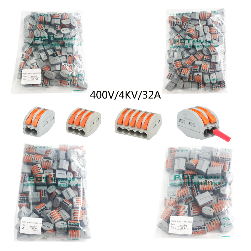 100 PCS Electrician Wire connector terminal block quick terminal clamp push type connector quick connector wire aligner excellway ch2 quick wire connector terminal block spring connector led strip light wire connector